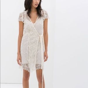 Zara cream colored lace wrap dress / bridal